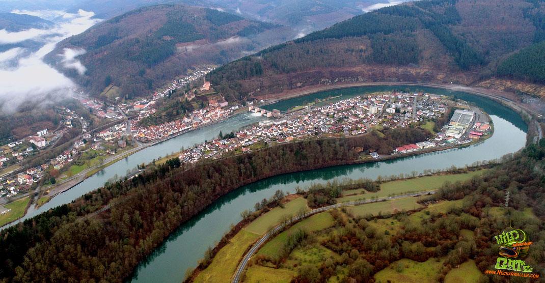 Blick auf die Neckarschleife in Hirschhorn. Mit einer Wassertiefe bis über 10 Meter zählt dieser Bereich zu den tiefsten Bereichen des Neckars.