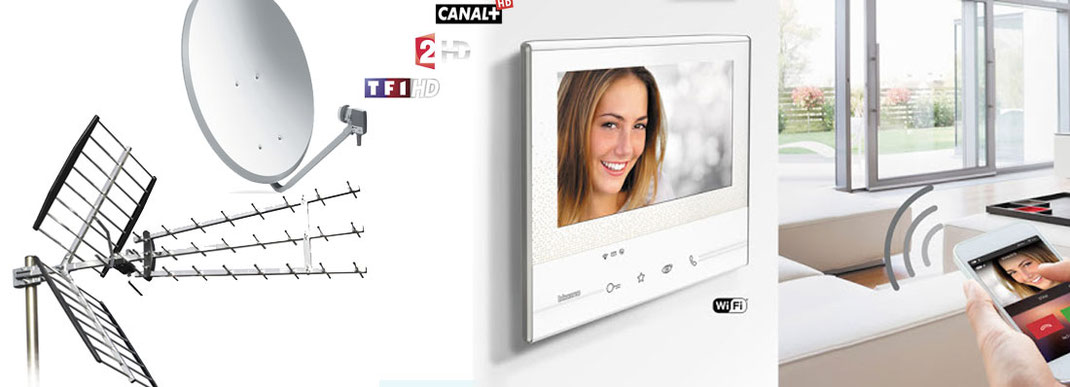 Vous regardez une image avec une antenne une parabole et un uinterphone portier vidéo connecté grenade 31330
