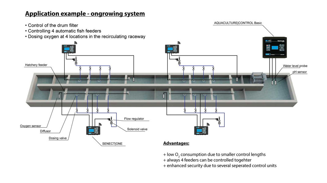 aquaculture raceway production facility for salmon and trout equipped with SENECT system components