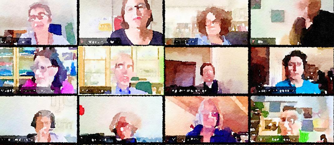 Aquarell eines Zoom Meetings (Bild Magdalena Kauz). Alle Bilder im Artikel ©MK