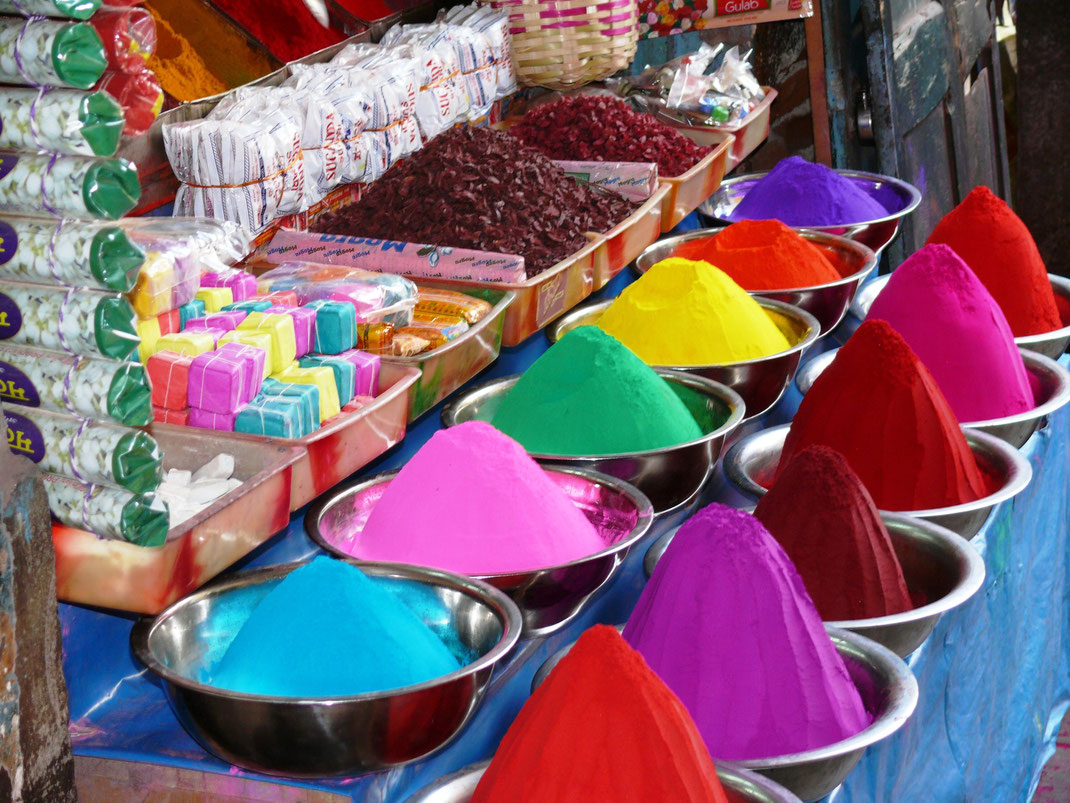 Bunt ist nicht nur die Stadt, sondern sind auch die Gewänder der Inderinnen, die Früchte des Marktes und die Farben des Holifestes (Foto Jörg Schwarz)