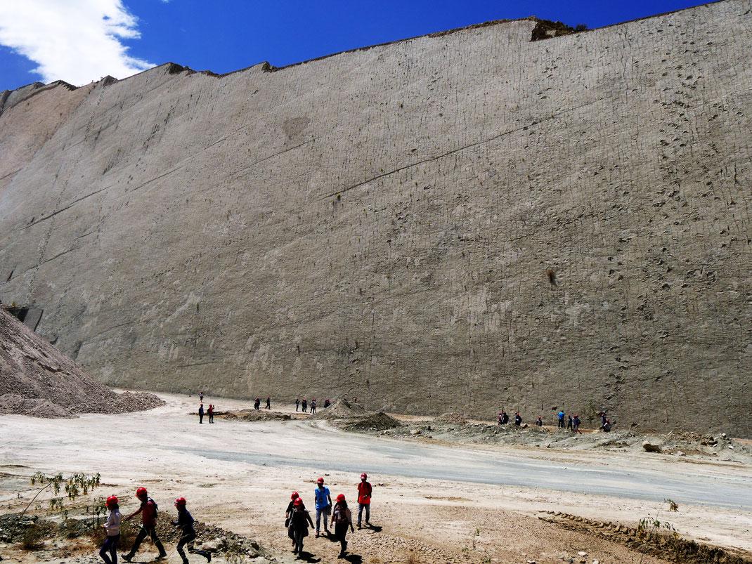 Die wahnsinnigen Dimensionen dieser paläontologischen Sensation... Cal Orck'o bei Sucre, Bolivien (Foto Jörg Schwarz)