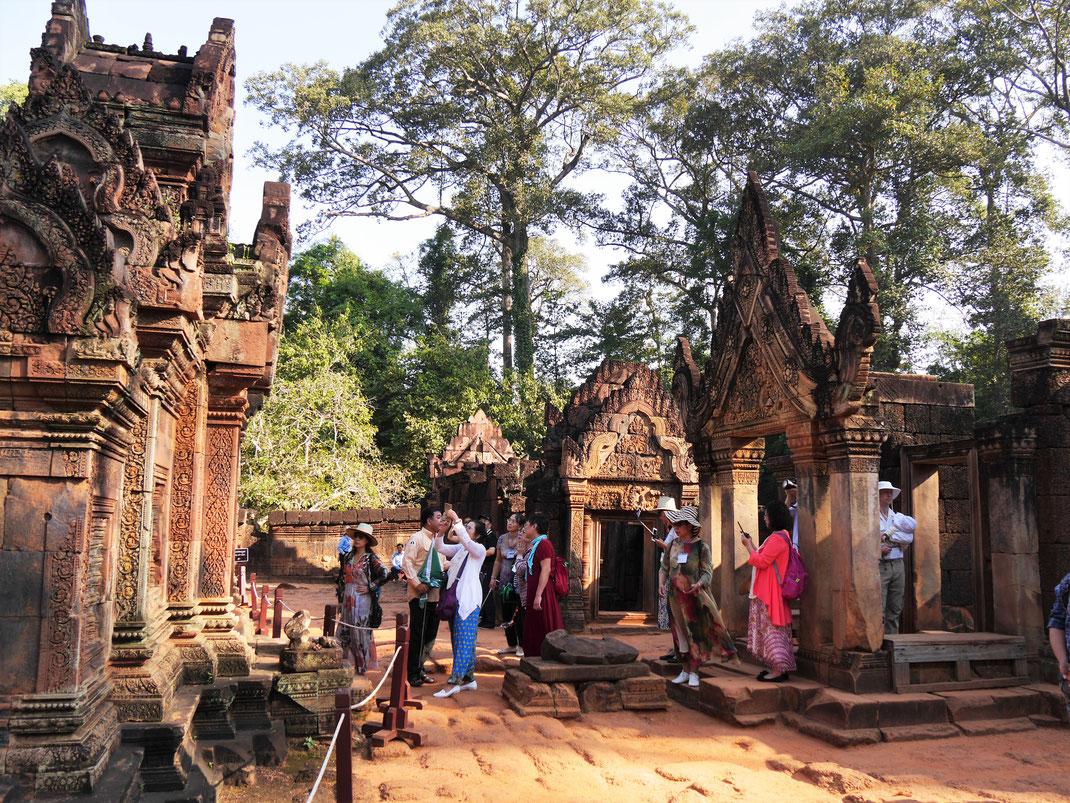 Natürlich hat sich die Güte dieses Tempelkomplexes längst auch bis nach China herumgesprochen... Banteay Srei, Kambodscha (Foto Jörg Schwarz)