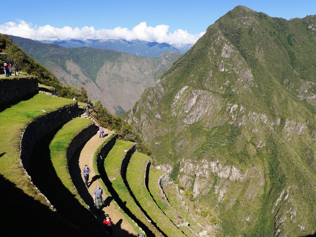 Blick auf die spektakulären Terrassen am süd-westlichen Abhang, Machu Picchu, Peru (Foto Jörg Schwarz)
