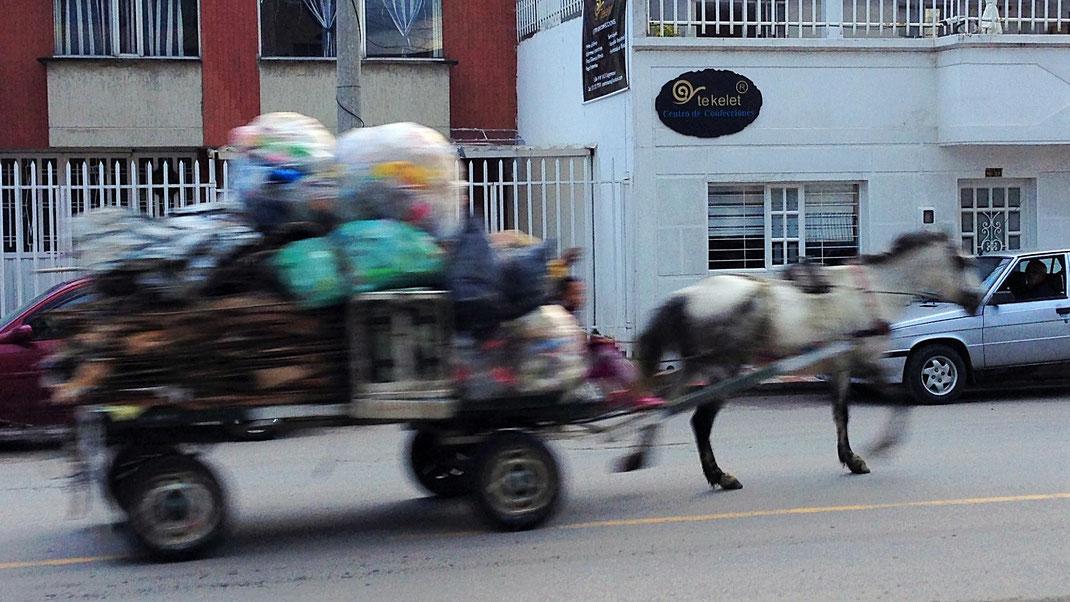 1 PS schnell wie der Wind - Hoffen wir, dass das Jahr 2018 gut wird und nur halb so schnell an uns vorbei geht, wie der Klepper... Sogamoso, Kolumbien (Foto Jörg Schwarz)