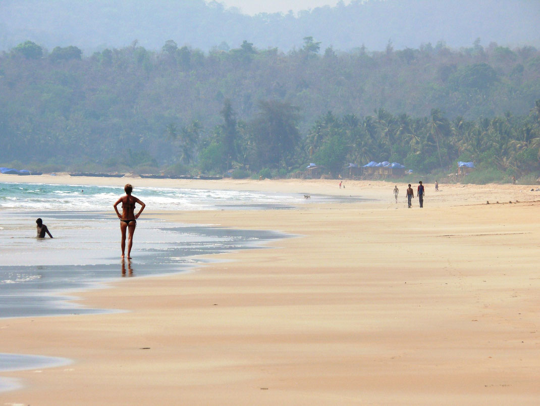 Nahezu menschenleer und noch fast völlig unentdeckt! Der Agonda Beach (Foto Jörg Schwarz)