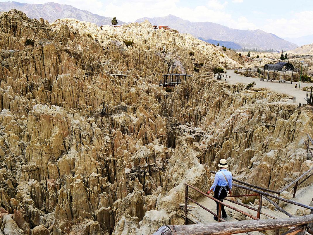 Das riesige Areal wird über einen Parcours bewältigt, Valle de la Luna, La Paz, Bolivien (Foto Jörg Schwarz)