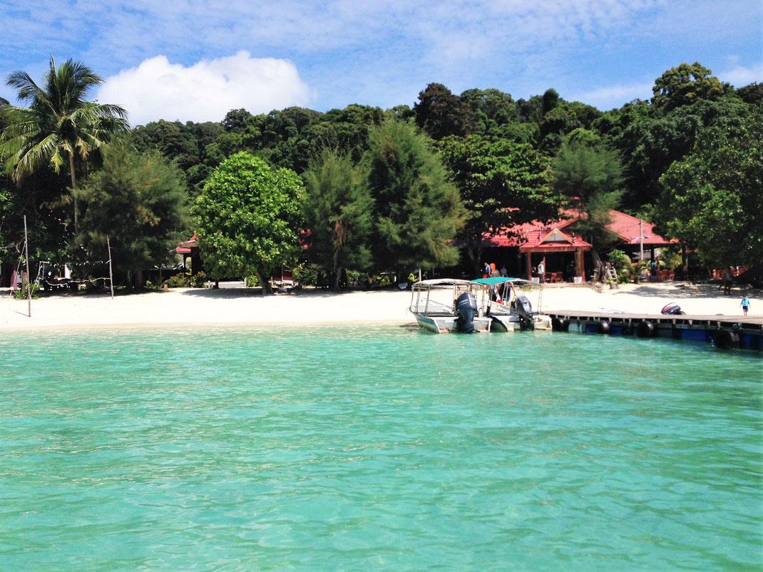 Unsere Ankunft an der Flora Bay, Pulau Perhentian Besar, Malaysia (Foto Jörg Schwarz)