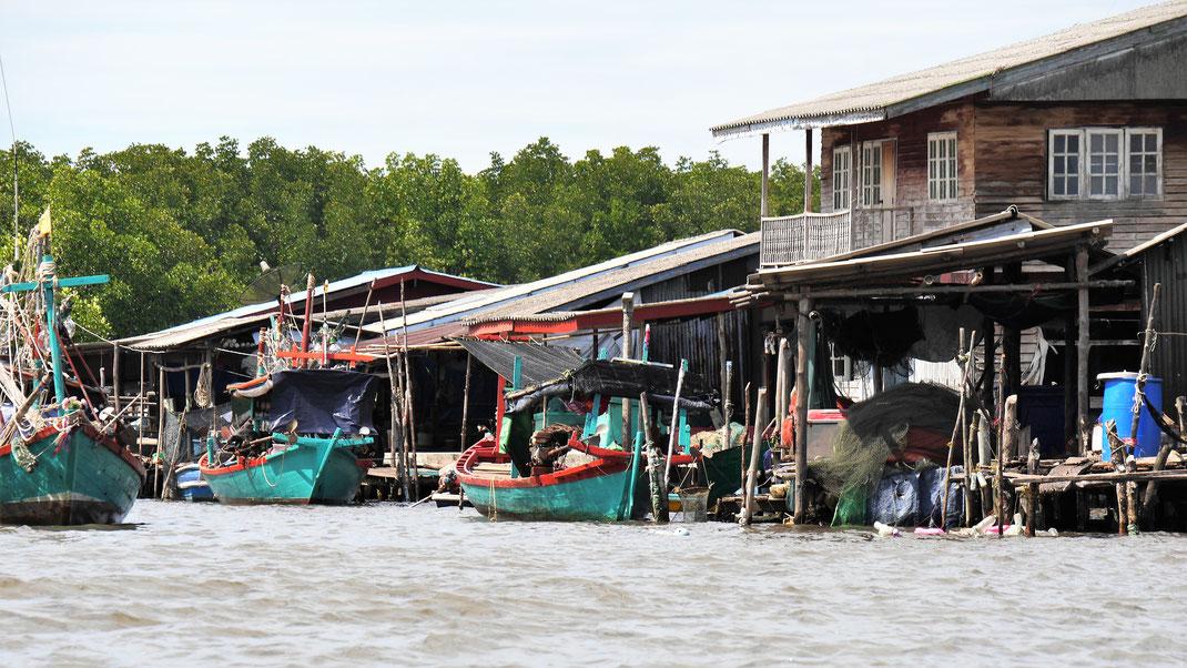 Fischerdörfer und Muschelfarmen prägen den Rand des Mangrovengebiets... Bei Koh Kong, Kambodscha (Foto Jörg Schwarz)