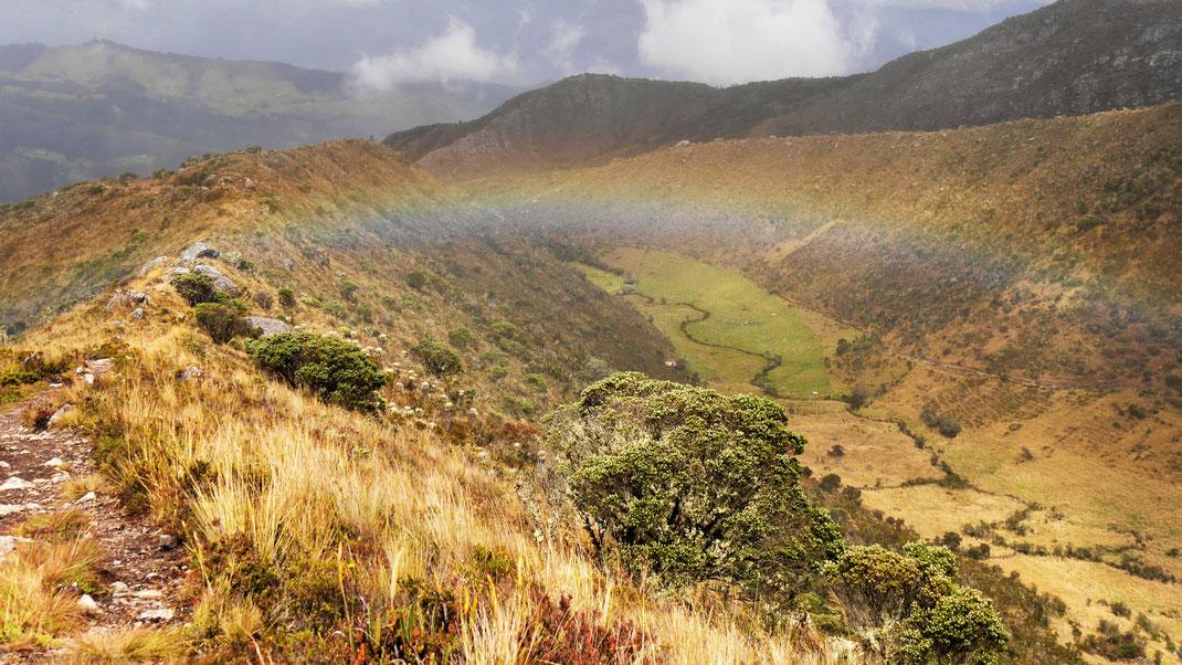 In der diesigen Luft entstehen immer wieder mal Regenbögen in der Landschaft, Páramo de Ocetá, bei Monguí, Kolumbien (Foto Jörg Schwarz)