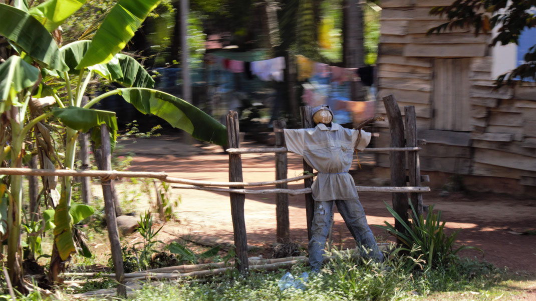 Hier weiß man sich offenbar gut beschützt... Bei Siem Reap. Kambodscha (Foto Jörg Schwarz)