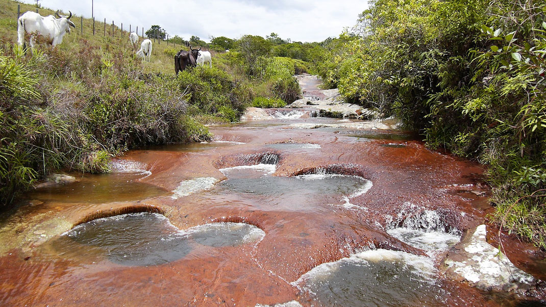 Las Gachas - das durchlöcherte Flussbett mit seinen natürlichen roten Pools... Las Gachas, bei Guadalupe, Kolumbien  (Foto Jörg Schwarz)