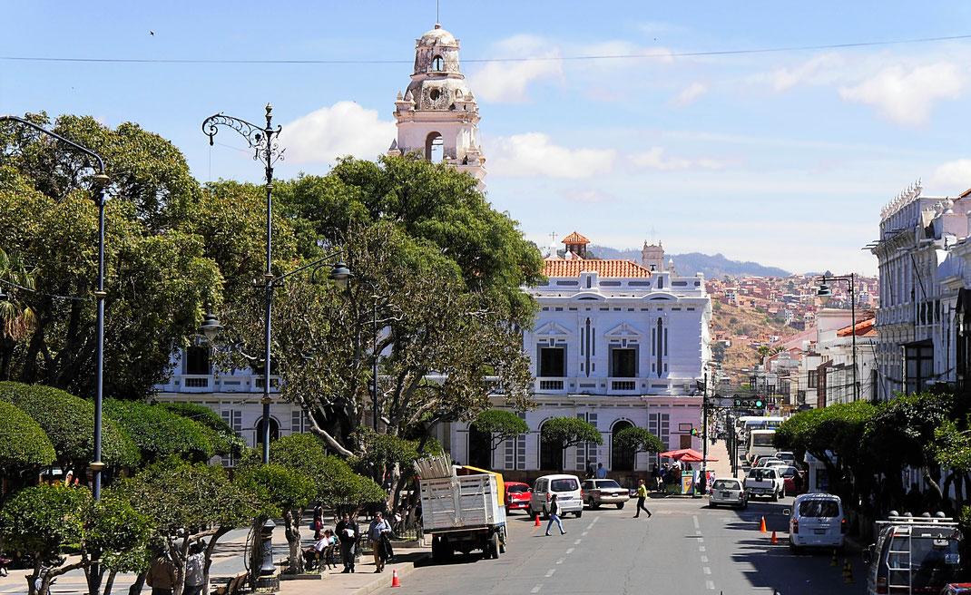 Die zentrale Plaza in Sucre, Sucre, Bolivien (Foto Jörg Schwarz)