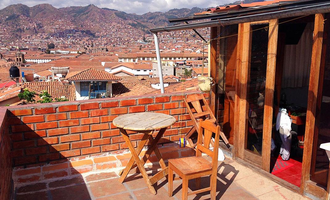 Unsere Terrasse über der Altstadt von Cusco, Cusco, Peru (Foto Jörg Schwarz)