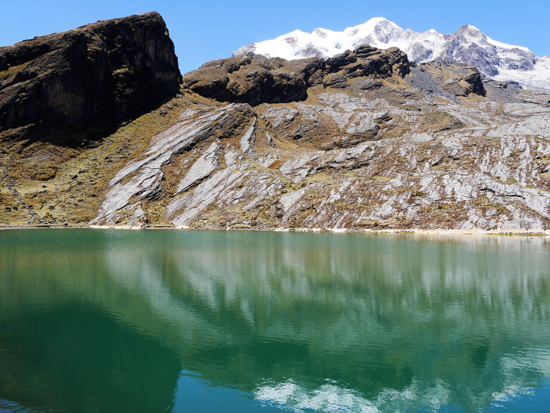 Fantastische Laguna Chillata - im Hintergrund der Nevado Illampú, Sorata, Bolivien (Foto Jörg Schwarz)