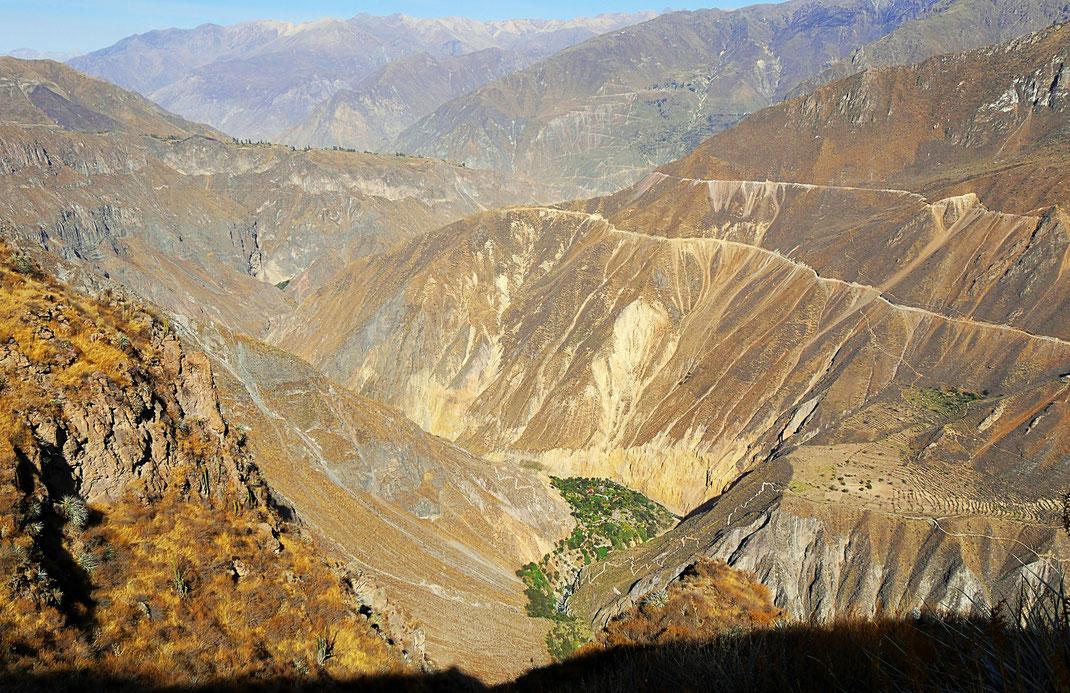 Blick in den Canon de Colca und auf Sangalle, Peru (Foto Jörg Schwarz)