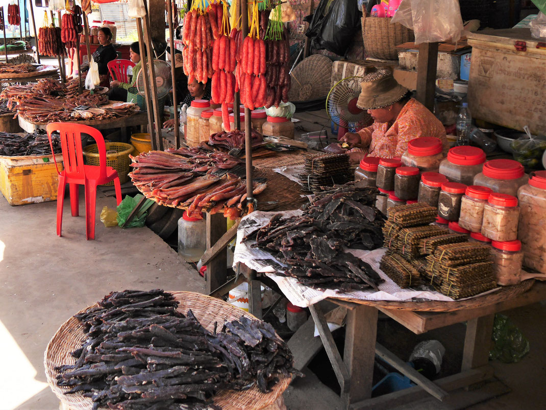 Fisch und Fleisch liegen zum Trocknen aus, werden so konserviert... Kompong Thom, Kambodscha (Foto Jörg Schwarz)