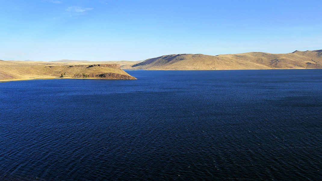 Von den Grabhügeln aus hat man fantastische Ausblicke auf den Lago Umayo, Sillustani, Peru (Foto Jörg Schwarz)
