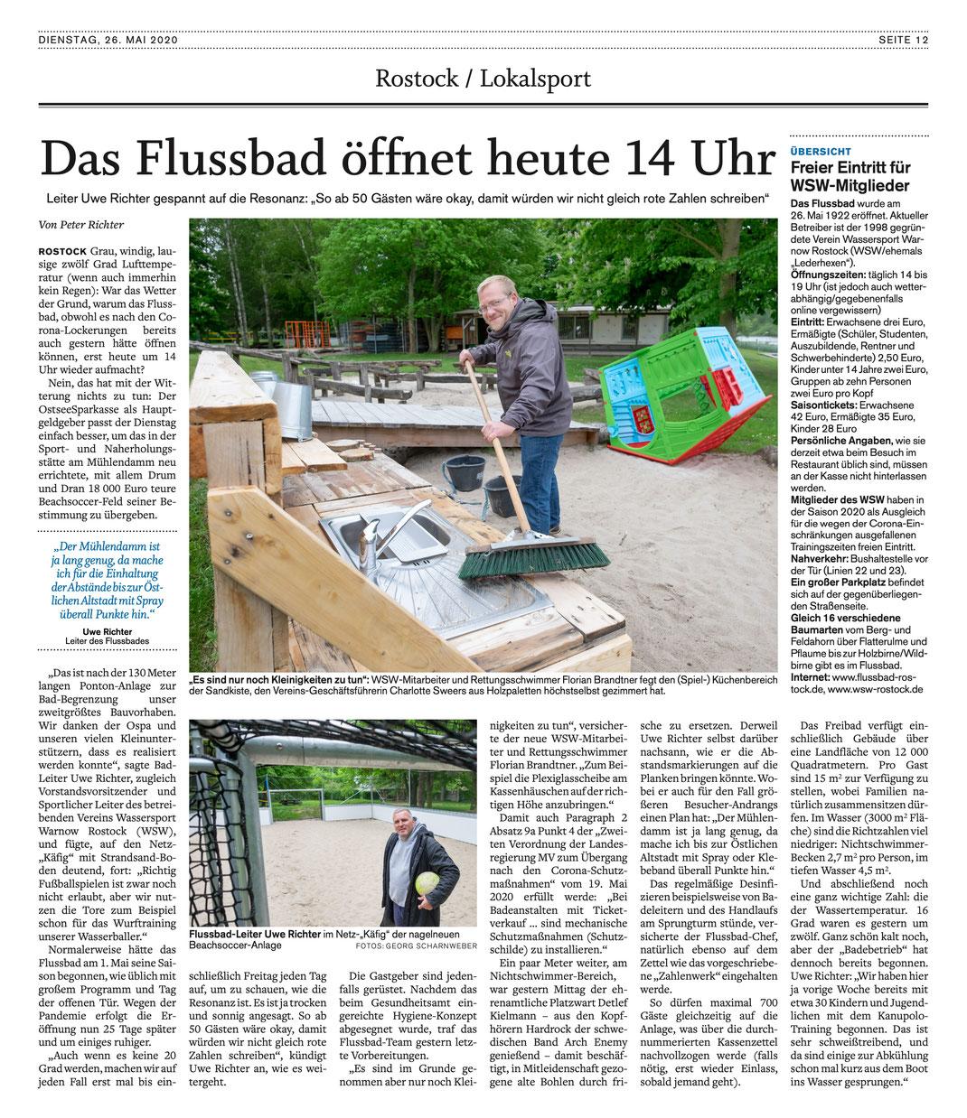 Artikel zur Eröffnung der diesjährigen Flussbad-Saison aus der NNN vom 26. Mai 2020