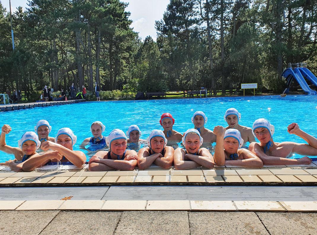 Die U14-Wasserballer des WSW Rostock vor drei Wochen bei der Norddeutschen Meisterschaft 2021 in Cuxhaven.