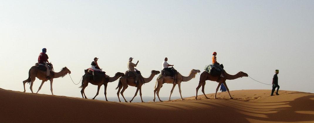 Rutas en dromedario a través de las dunas de Merzouga. www.solomarruecos.com