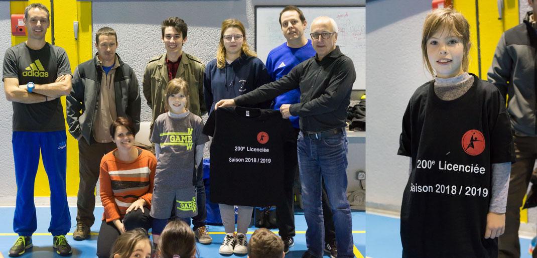 Ophélie, la 200ème licenciée du club mise à l'honneur