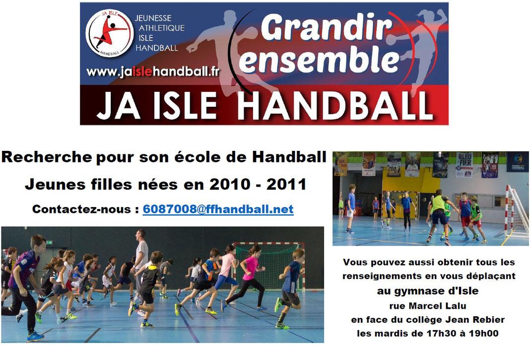 Recherche pour son école de handball joueuses nées en 2010-2011