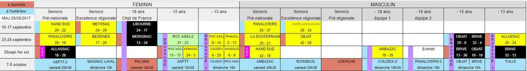 calendrier de la saison 2017-2018