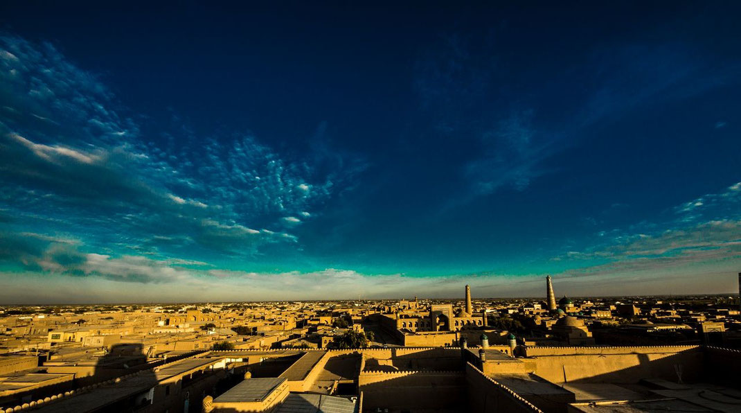 Itchan Kala, the inner fortress of Khiva  (protected by brick walls some 10 m high)  is located to the South of the Amu Darya River (known as the Oxus in ancient times) in the Khorezm region of Uzbekistan