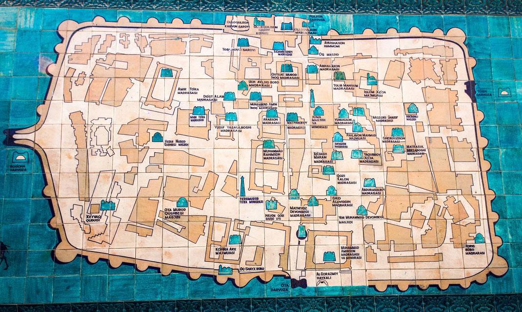 Khiva, Usbekistan. Map of the Itchan Kala