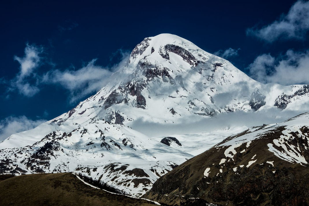 Mount Kazbek is the third highest mountain in Georgia (after Mount Shkhara and Janga) and the seventh highest peak in the Caucasus Mountains. Kazbek is also the second highest volcanic summit in the Caucasus, after Mount Elbrus