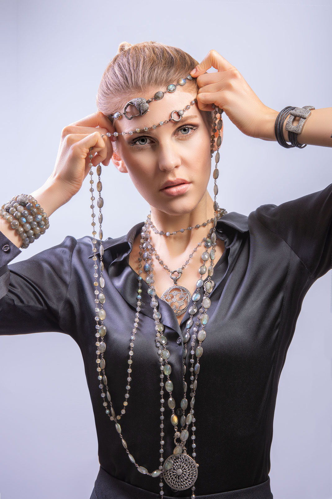 long casual elegant necklaces with grey diamonds to wrap and to layer completed with bracelets