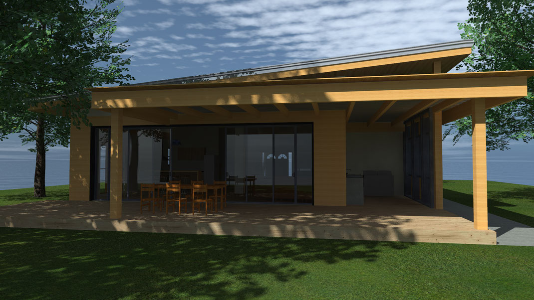 Terrasse mit Bambuss Tisch und Sitzgelegenheit