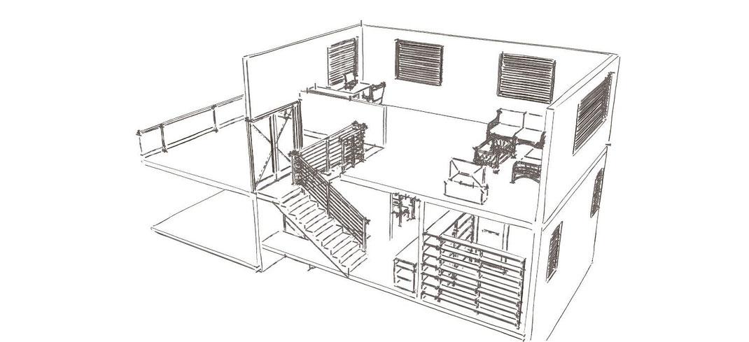 Skizze Schnitt durch ein Haus