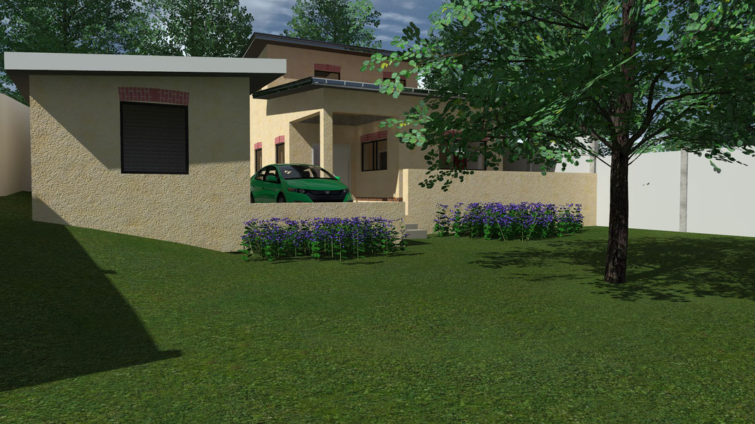 3D Rendering Haus mit Garage