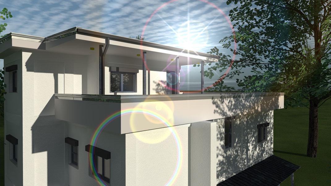 Dach Terrasse im Sonnenschein