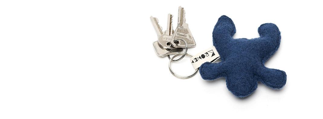 Der Schlüsselanhänger in Froschform - Blau