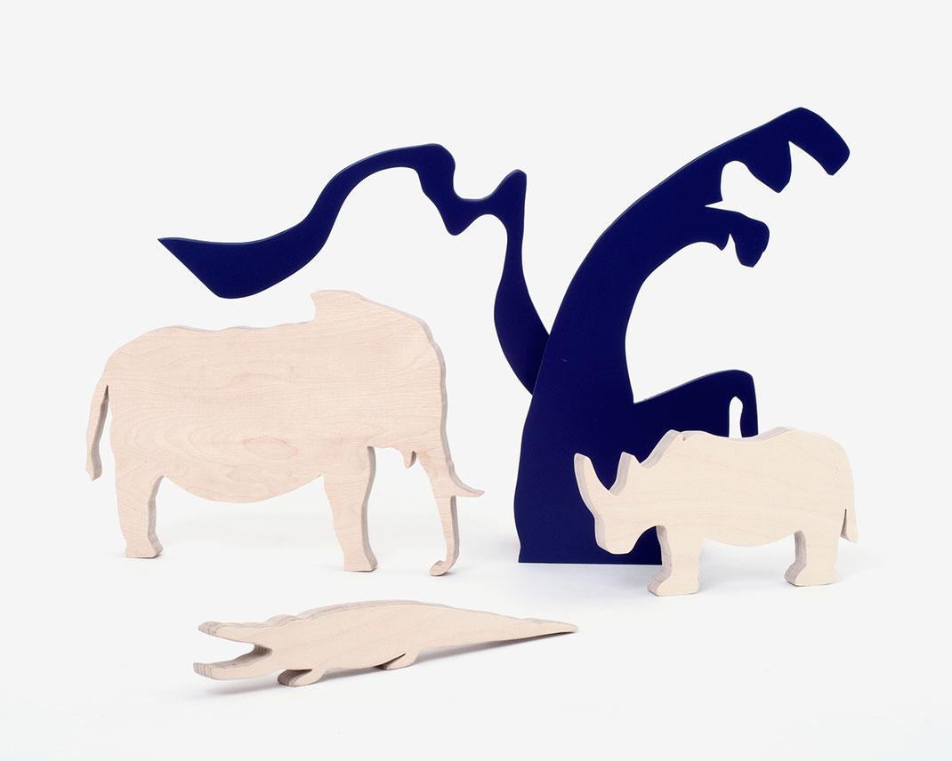 Elefant - Nashorn - Krokodil