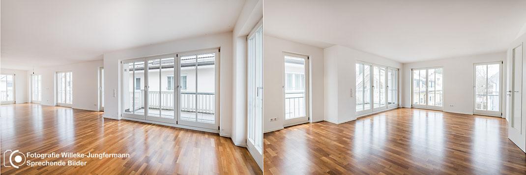 Professionelle Immobilienfotografie: Unmöblierte Räume gekonnt in Szene setzen.