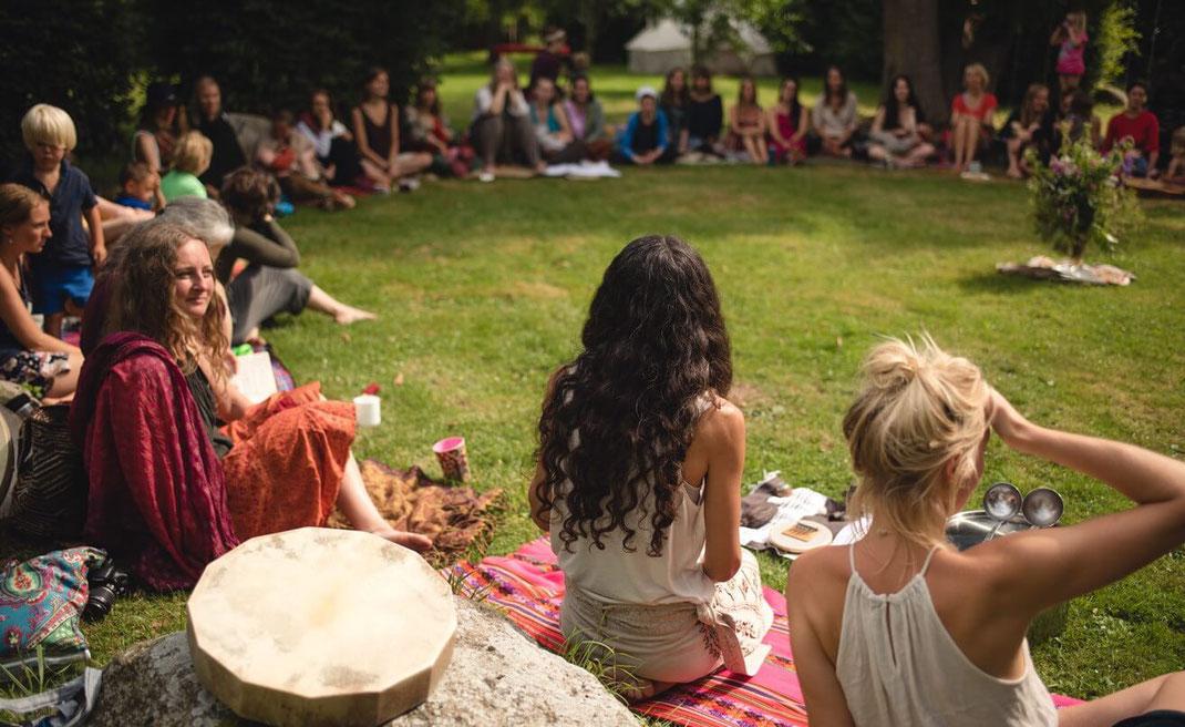 woman medicine circle drum