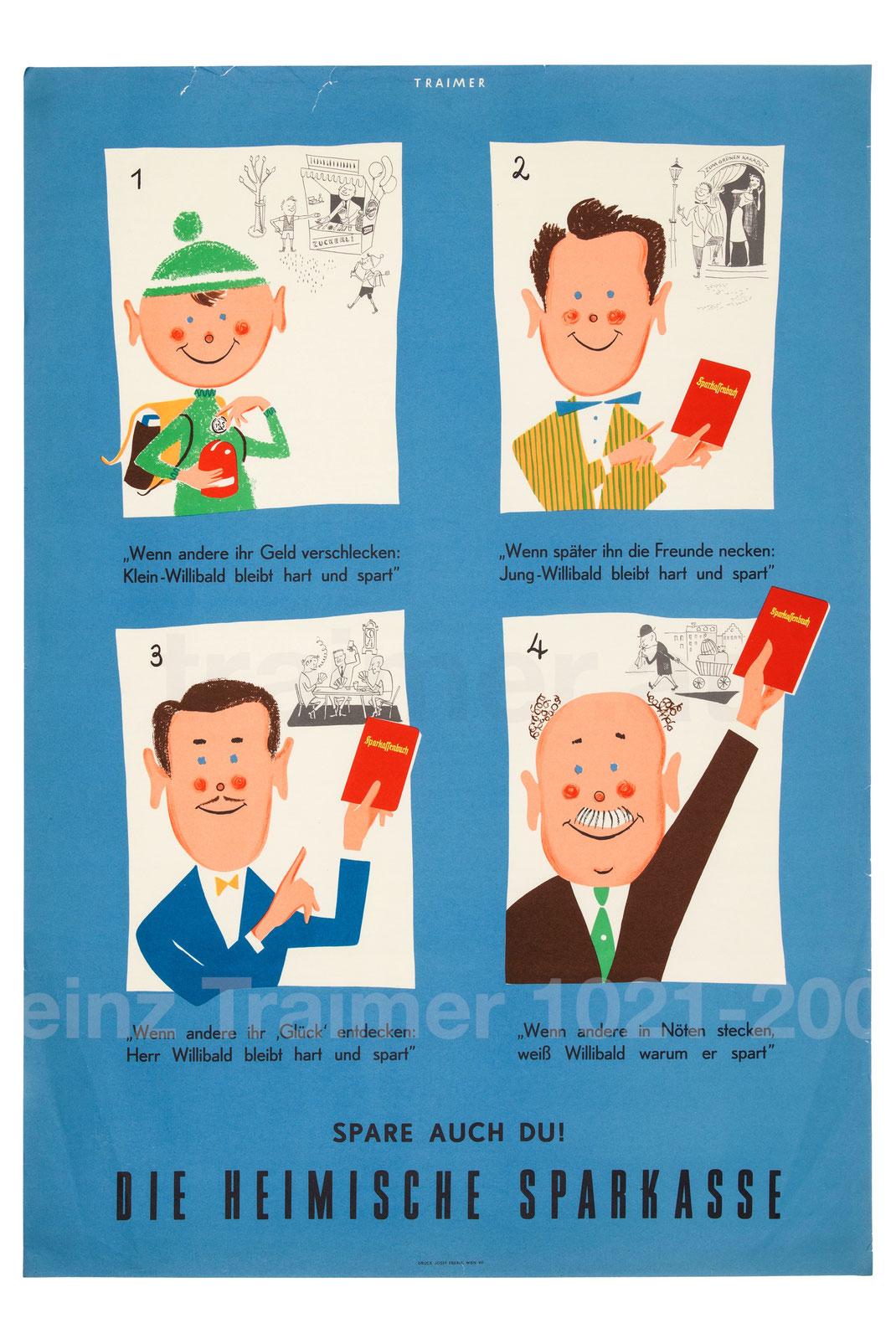 Sparkassenwerbung 1950er Jahre. Plakat für die Sparkasse von Traimer. Sparwerbung