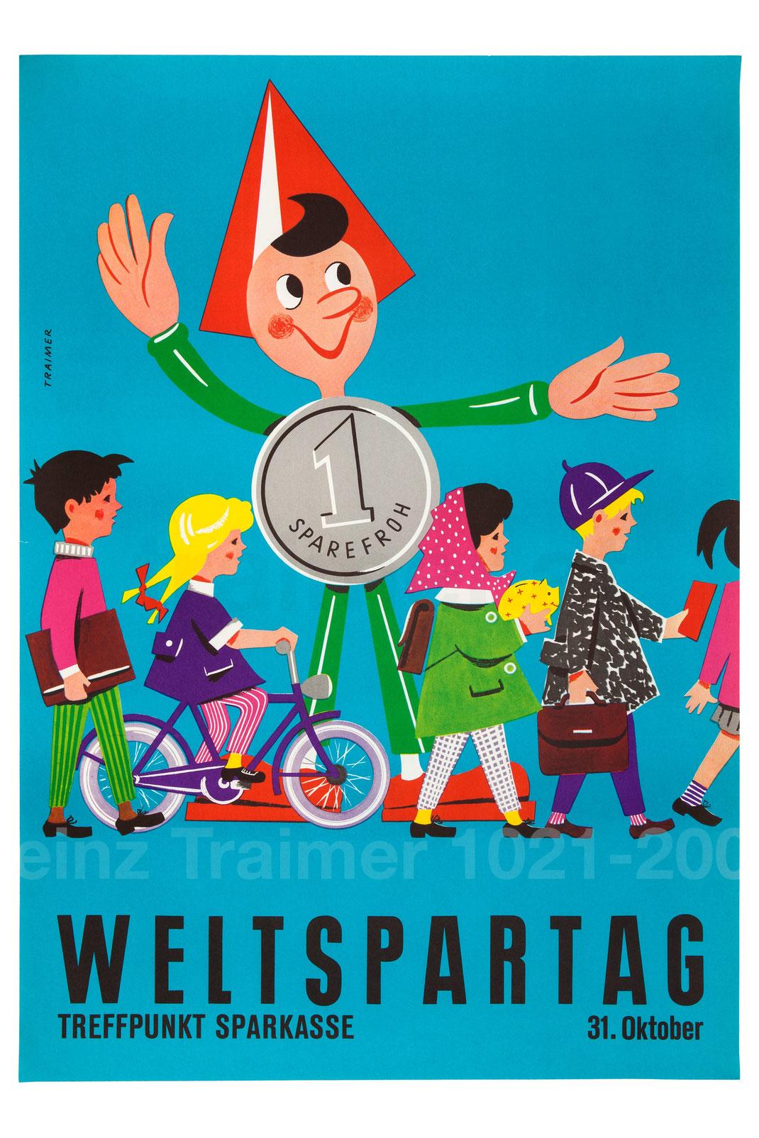 Weltspartag Sparkasse Sparefroh . Sparefroh Plakat Poster 1960er