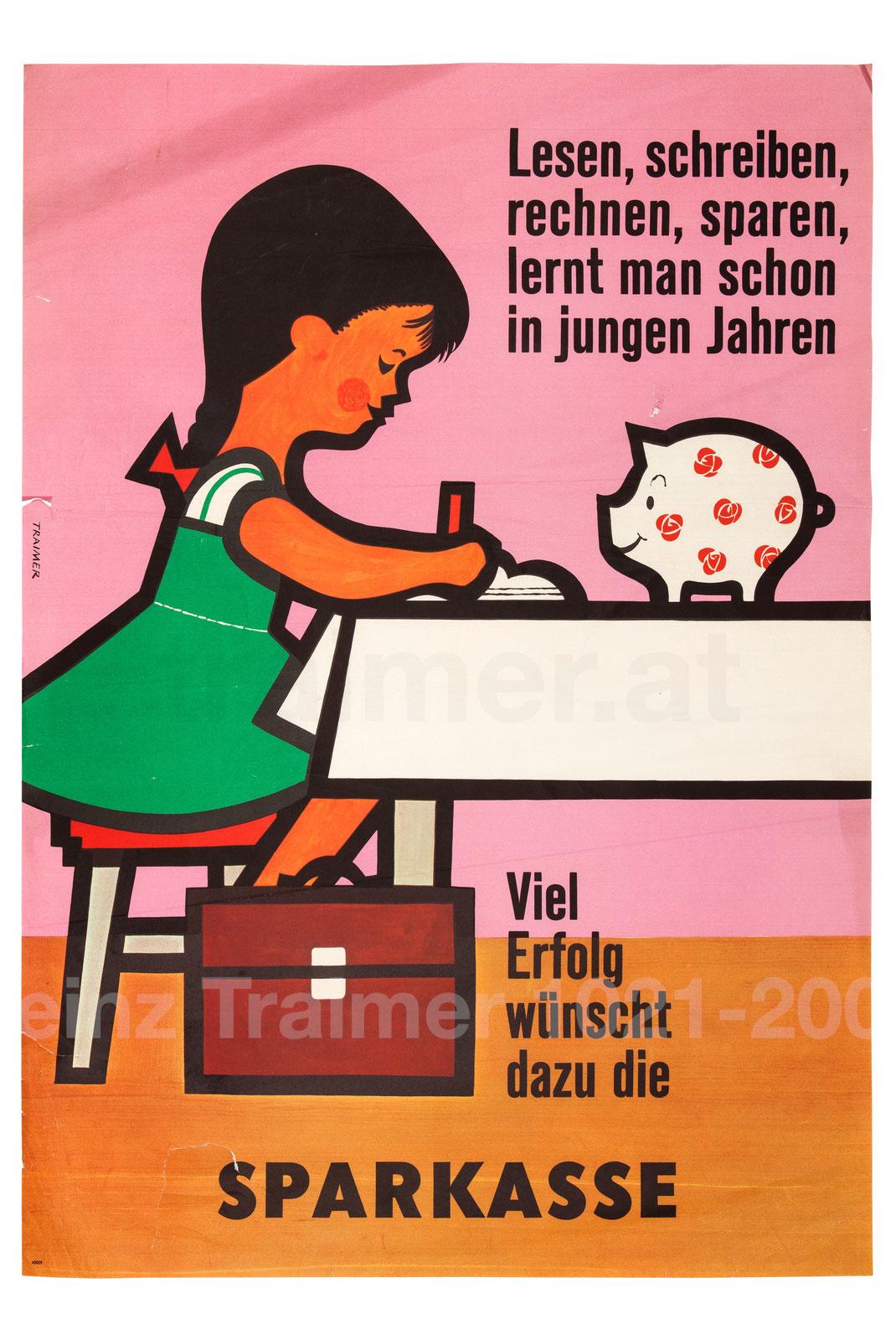 Sparerziehung Kinder der Sparkasse Plakat Gelderziehung (Kinder und Geld)