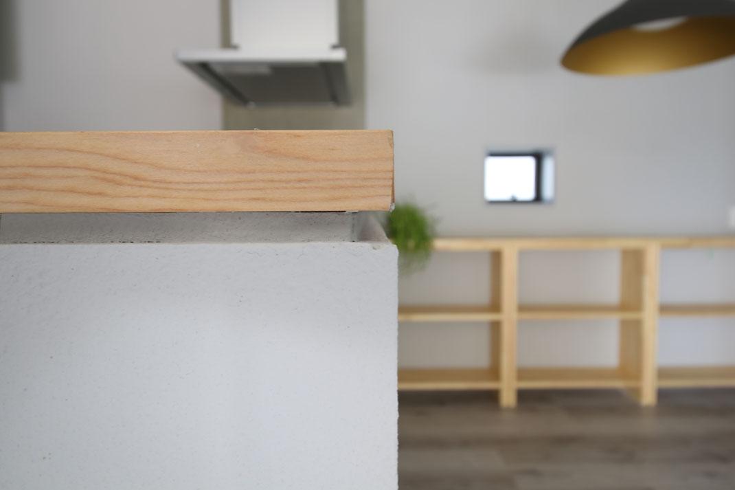 リノベーションキッチン前の腰壁