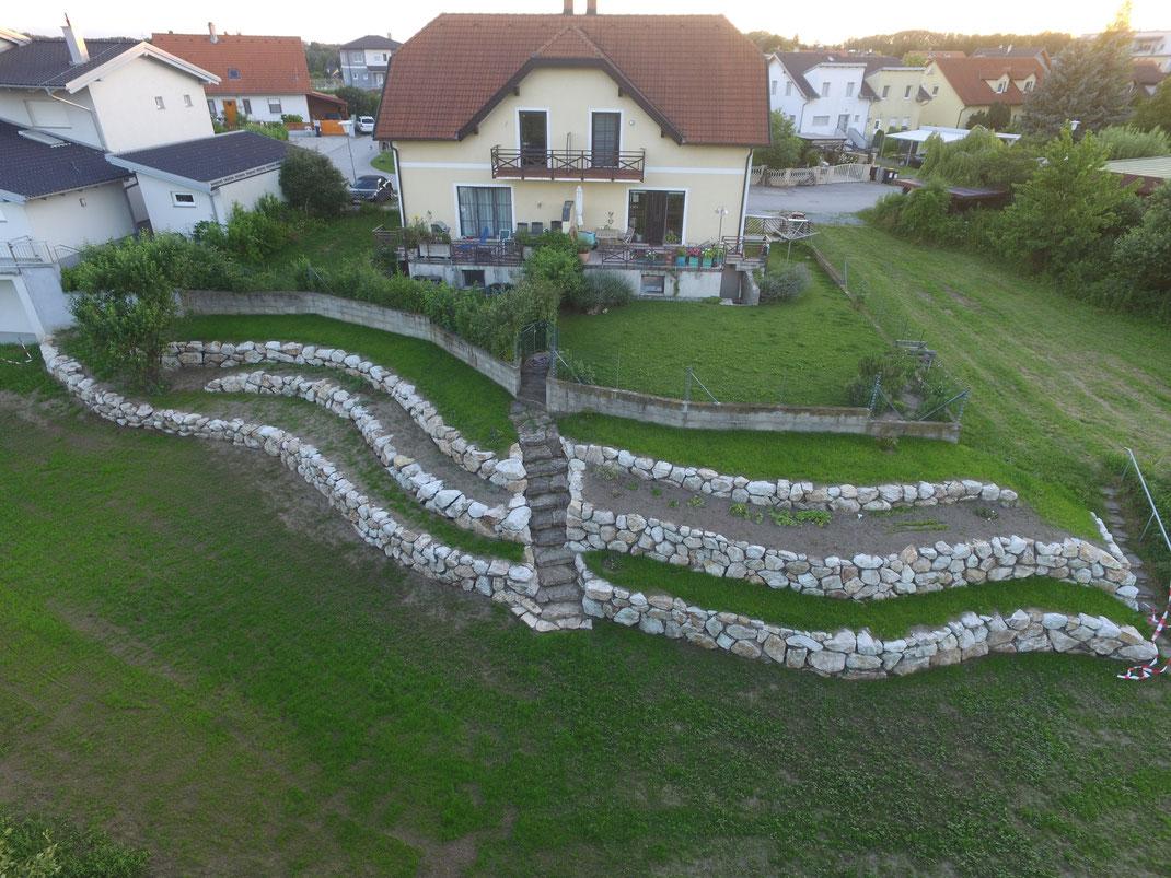 Mittels 3 Steinmauern in 3 Stufen abfallende Gartenlandschaft mit Haus im Hintergrund.