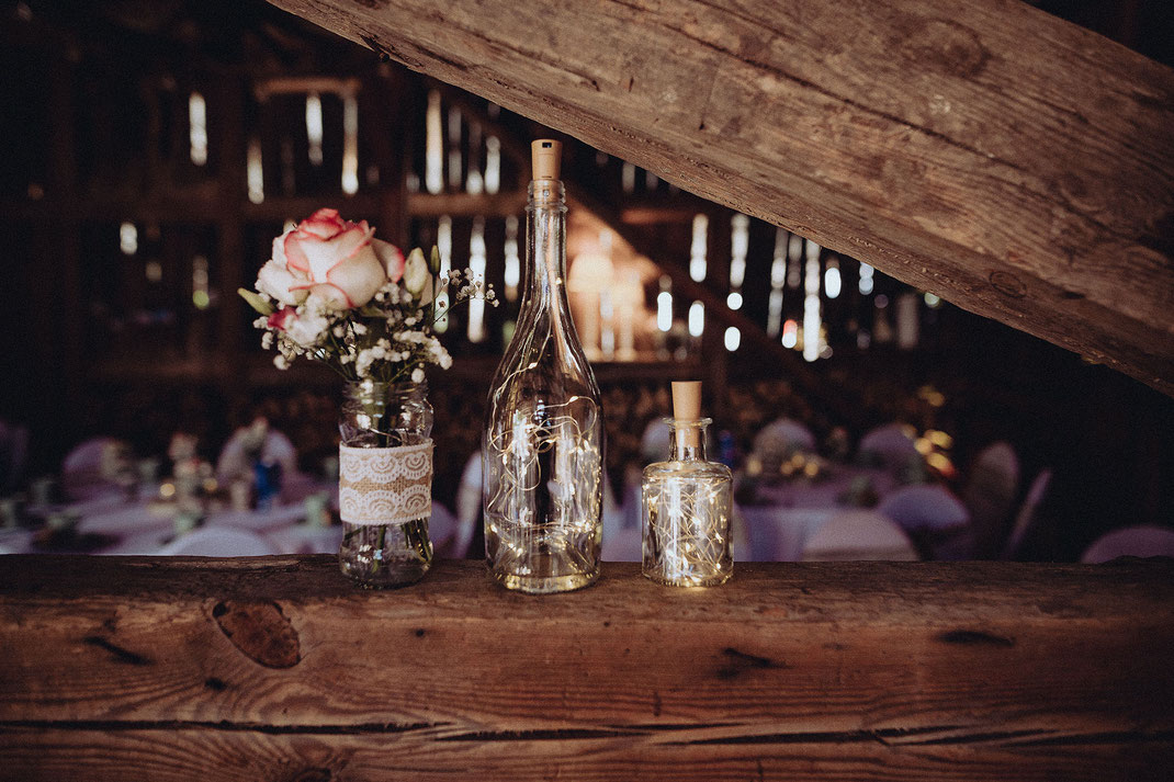 Hochzeitsdekoideen Glasvasen