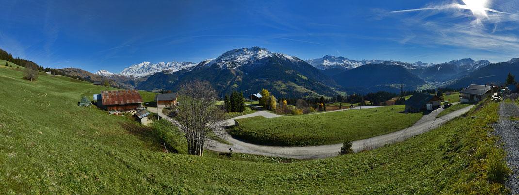 La vue sur le Mont-Blanc depuis le chalet