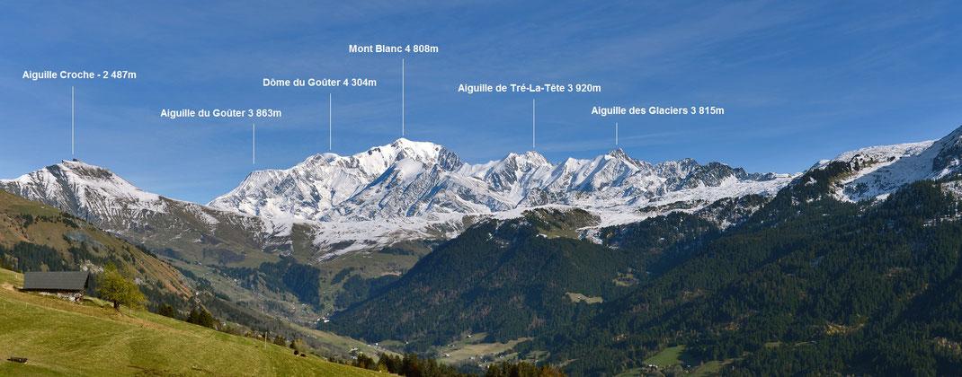 Panorama sur le Mont Blanc depuis Hauteluce aux Saisies
