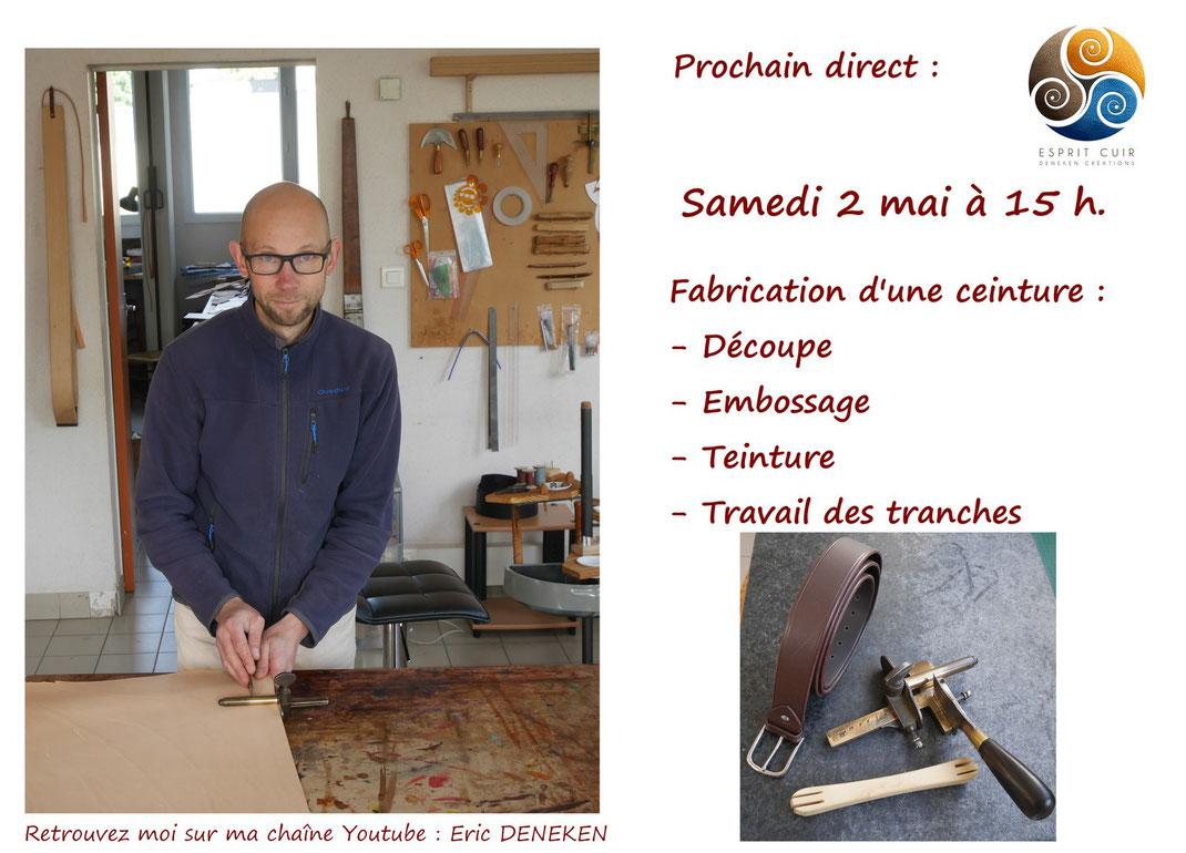 Présentation direct fabrication ceinture tannage végétal
