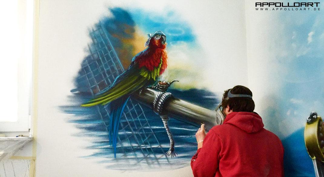 graffiti im Airbrush Kinderzimmer Wandgestaltung im Innenraum